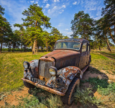 MOSCOW REGION, RUSSIA - JULY 12, 2014: German old car a front view in a forest Editorial