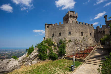 woll: SAN MARINO REPUBLIC - JUNE 22, 2014: The woll of Guaita fortress is the oldest and the most famous tower on San Marino. Editorial
