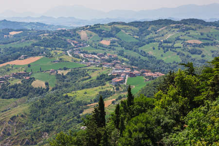 italian landscape: Beautiful Italian landscape. View from heights of San Marino and toscana Stock Photo