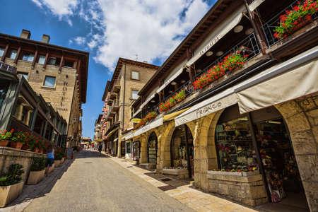 SAN - MARINO, ITALY - JUNE 22, 2014: Beautiful little streets of San - Marino waiting for tourists.