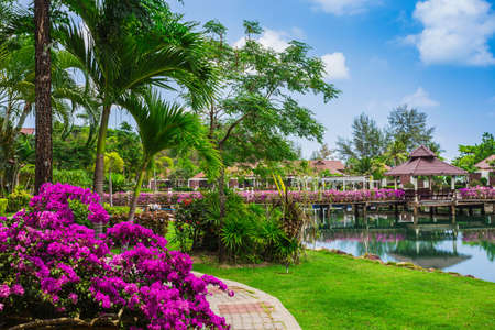 mart: KOH CHANG, THAILAND - 31 MART, 2015: Klong Prao Resort. Cottages on the Bay in a tropical garden Editorial