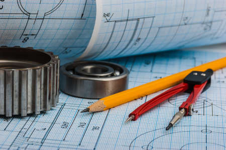 trammel: tools and mechanisms detail on the background of technical drawings