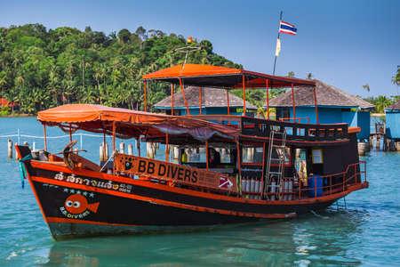chang: THAILAND, KO CHANG- MARCH 30, 2015 : Thailand tropical island of Koh Chang. Fishing boat in Ko Chang, Thailand.