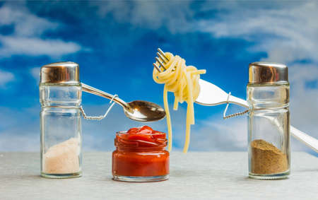 puppets: Puppets of dishes for spices cooked spaghetti with ketchup Stock Photo