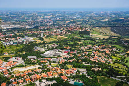 toscana: Beautiful Italian landscape. View from heights of San Marino and toscana Stock Photo