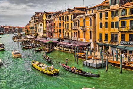 rialto: VENICE, ITALY - 26 JUNE, 2014: View of the Grand Canal from the Rialto Bridge. Venice