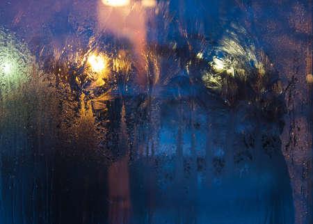 winter night: Frozen glass cold winter night