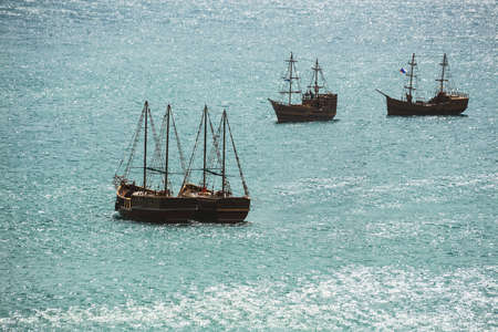 old ship: Old ship with sails, sailing in the sea Stock Photo
