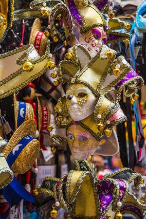 carnival in venice: VENICE, ITALY - JUNE 26, 2014: Typical colorful mask from the venice carnival, Venice, Italy Editorial