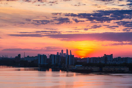 city of sunrise: Sunrise at the Moscow city. Silhouette of buildings.
