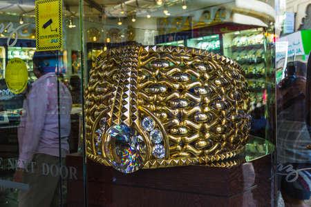 souq: DUBAI, UAE-NOVEMBER 18: The biggest gold ring in Deira Gold Souq weighs 63.85kg. on November 18, 2012 in Dubai, UAE