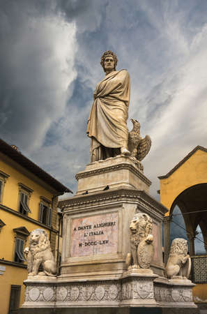 dante alighieri: Italy, Florence;  June 23, 2014. A Dante Alighieri lItalia M-DCCC-LXV stays for 1865 Editorial