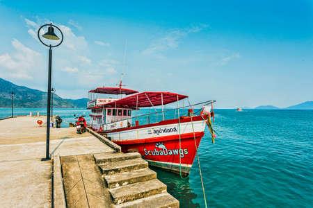 chang: THAILAND, KO CHANG- MARCH 26, 2015 : Thailand tropical island of Koh Chang. Fishing boat in Ko Chang, Thailand.