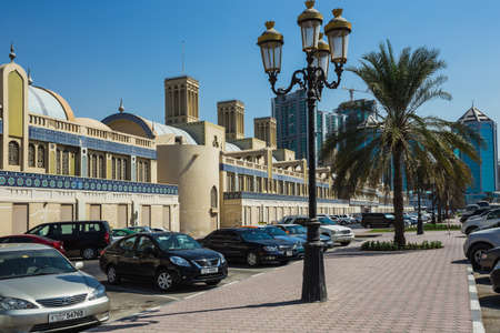 sharjah: SHARJAH, UAE - OCTOBER 28: Sharjah - third largest and most populous city in United Arab Emirates, on October 28, 2013.  It is the most industrialized emirate in UAE.