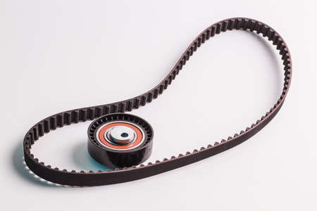 timing: Image of timing belt with rollers on a white background Stock Photo