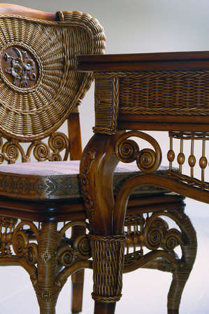 antique furniture: Wicker furniture made of twigs. Antique desk and chair Stock Photo
