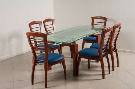 dining table and chairs: Dining Table with six chairs on a white background
