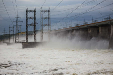 dumping: Hydroelectric power plant on the Volga. Water dumping Stock Photo