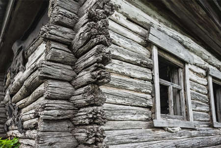 dilapidated: Dilapidated old wooden rustic house in Russia