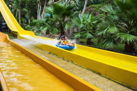 waterpool: VINPEARL RESORT, NHA TRANG, VIETNAM - NOV 24, 2014. Colorful waterslide in Vinpearl water park, Nhatrang - Vietnam Editorial