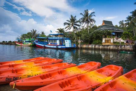 chang: THAILAND, KO CHANG- APRIL 1, 2015 : Thailand tropical island of Koh Chang. Fishing boat and kayak in Ko Chang, Thailand.
