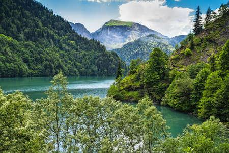 abkhazia: Alpine lake Ritsa in Abkhazia in the Caucasus mountains