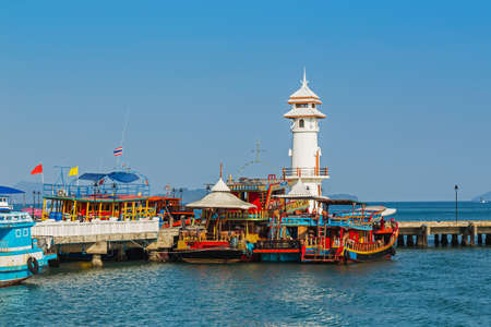 Koh Chang Thailand.  March 30, 2015. Lighthouse on a Bang Bao pier on Koh Chang Island in Thailand
