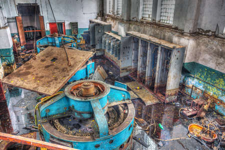 Ukraine. 10 September 2015. Chernobyl disaster, one of the mechanisms of industrial buildings in Pripyat