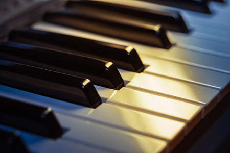 side keys: Piano keys side view with shallow depth of field