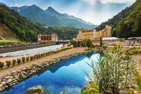 SOCHI, RUSSIA - JUNE 23, 2016: The resort Rosa Khutor in Sochi, Rose Farm ski resort, here are the hotels where living participants and guests of the Winter Olympic Games 2014 Editöryel