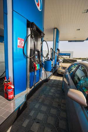 autos: SHARJAH - UAE, NOV 13: The Emarat petrol station in Sharjah City. Sharjah, November 13 2013, United Arab Emirates