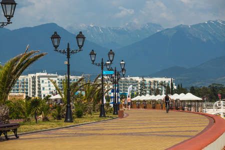 SOCHI, ADLER,RUSSIA - JUNE 22, 2016. Embankment of the Olympic Park in Sochi, Adler,Russia where Winter Olympic Games 2014 took place
