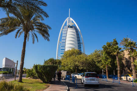 DUBAI, UAE- NOVEMBER 7: A general view of the worlds first seven stars luxury hotel Burj Al Arab Tower of the Arabs on November 7, 2013 in Dubai. Also known as Arab Sail