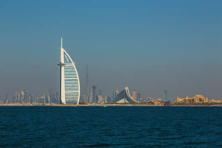 DUBAI, UAE- NOVEMBER 7: A general view of the worlds first seven stars luxury hotel Burj Al Arab Tower of the Arabs on November 7, 2013 in Dubai. Also known as Arab Sail