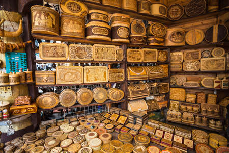 Kizhi, MAY 7, 2016. Russian handicrafts made of birch bark (the inscription in Russian: salt, spices, pepper)