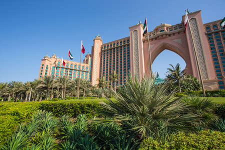 DUBAI, UAE - NOVEMBER 3: View Atlantis Hotel on November 3, 2013 in Dubai, UAE. The resort consists of two towers linked by a bridge, with a total of 1539 rooms.