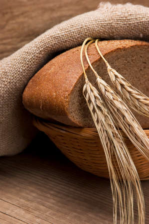 wheat kernel: bread and ears on the table