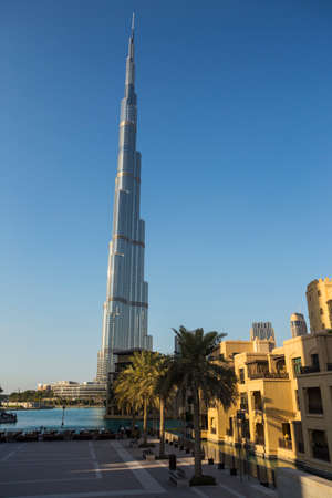 DUBAI, UAE - NOVEMBER 13: High rise buildings and streets nov 13. 2013  in Dubai, UAE.  Burj Khalifa, the tallest building in the world