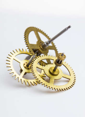 escapement: gears of the old clock on a white background