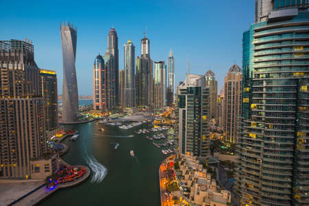DUBAI, UAE - NOVEMBER 2: Dubai Marina. UAE. November 2, 2013. Dubai was the fastest developing city in the world between 2002 and 2008. Editorial