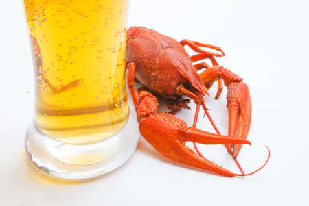 the red lobster with a glass of beer on white background Stock Photo