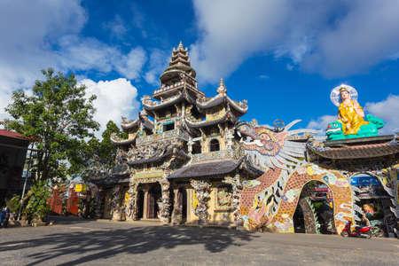 roof profile: DALAT, 26 NOV 2014. Linh Phuoc pagoda at Da Lat City, Lam Dong province, Vietnam.