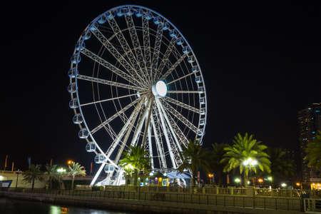 UAE. OCT 30, 2013. Eye of the Emirates - ferris wheel in Al Qasba - Shajah, United Arab Emirates