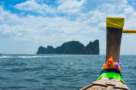 Boats at sea against the rocks in Thailand. Phi Phi Island Stock Photo