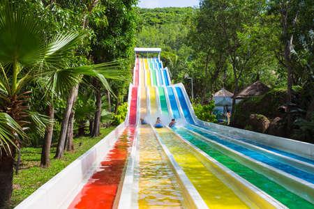 VINPEARL RESORT, NHA TRANG, VIETNAM - NOV 24, 2014. Colorful waterslide in Vinpearl water park, Nhatrang - Vietnam Editorial