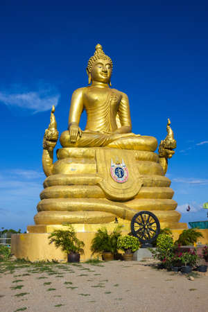 12 meters high Big Buddha Image, made of 22 tons of brass in Phuket,Thailand Stock Photo