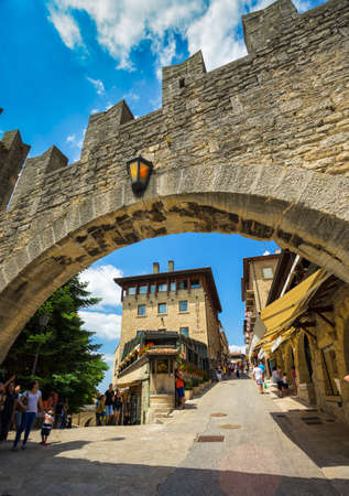SAN MARINO REPUBLIC - JUNE 22, 2014: The woll of Guaita fortress is the oldest and the most famous tower on San Marino. Editorial