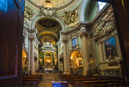 BOLOGNA, ITALY - JUNE 25, 2014: Main altar of baroque church Santa Maria della Vita designed in year 1787 by Giuseppe Tubertini. Editorial
