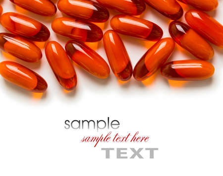 different colored pills in the pack closeup  isolated on a white background Stock Photo