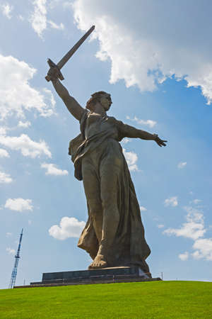 Volgograd, Russia - July 4, 2016: Motherland Calls is a statue in Mamayev Kurgan in Volgograd, Russia, commemorating the Battle of Stalingrad of World War II. Mamayev Kurgan. Stalingrad battle. Editorial